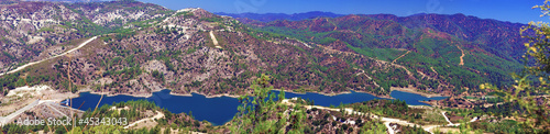 Panorama of Kouris dam with reservoir, Cyprus