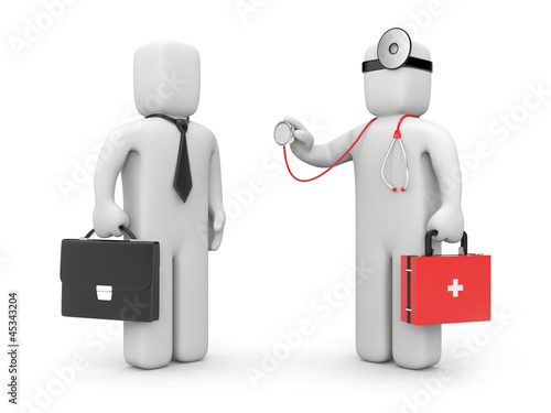 Doctor with stethoscope examine businessman