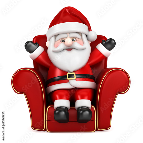 3d render of Santa Claus hanging sitting on a sofa