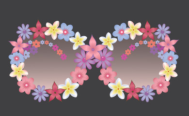 Sunglasses decorated with flowers. Vector.