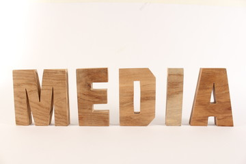 MEDIA text animation with wooden letter version 1