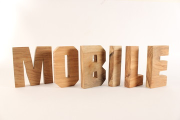 MOBILE text animation with wooden letters version 2