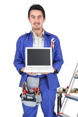 plumber showing computer