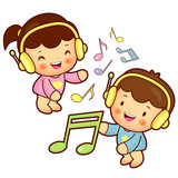 Boys and girls listening to music
