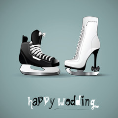 happy wedding figure skates