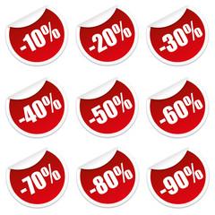 Rabatt Sticker 10 bis 90 Prozent (Rot)
