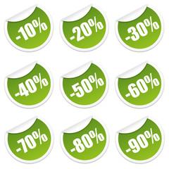 Rabatt Sticker 10 bis 90 Prozent (Grün)