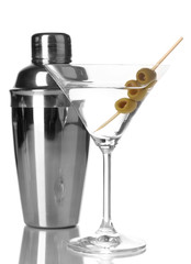 Martini glass with olives and shaker isolated on white