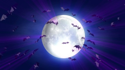 animated cartoon Halloween background moon and alpha mask