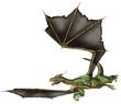 Flying Green Fantasy Dragon