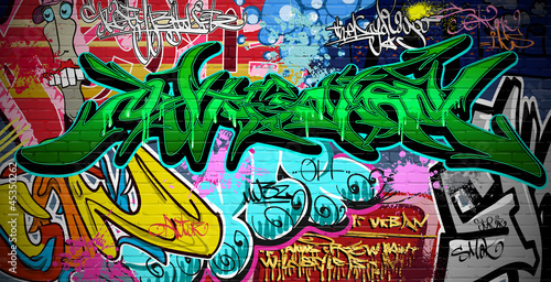 Graffiti Art Vector Background. Urban wall - 45350262