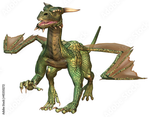 Deurstickers Draken Green Fantasy Dragon