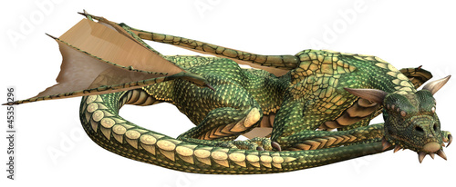 Deurstickers Draken Sleeping Green Fantasy Dragon