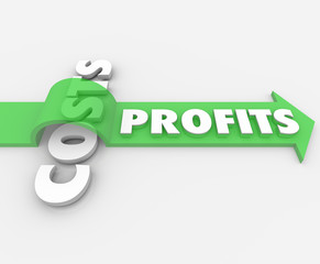 Profits Word Arrow Jumping Over Costs Revenue