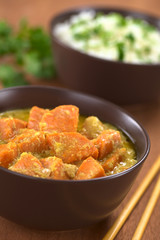 Bowl of vegetarian sweet potato and coconut curry