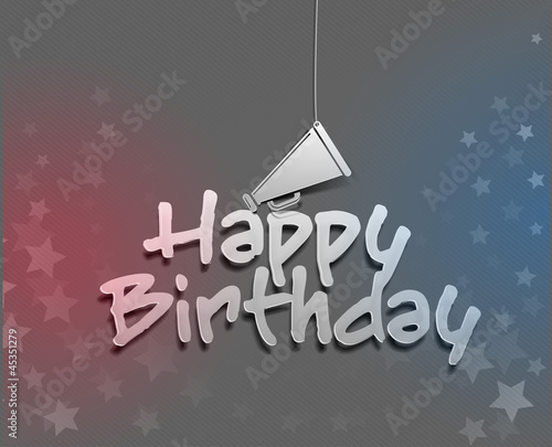 vector happy birthday with loudspeaker background