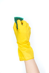 hand in yellow glove with sponge - isolated on white background