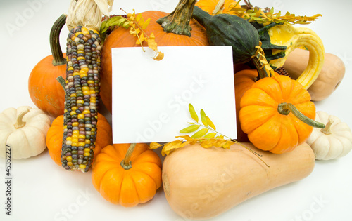 White sign in autumn decoration