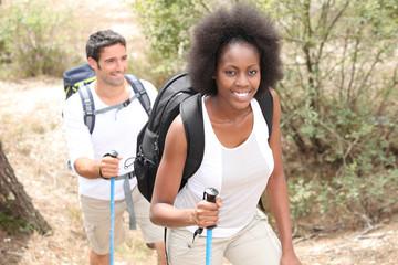 Couple on hiking trip