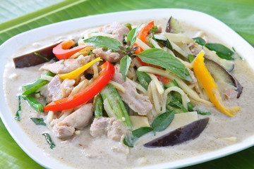 Thai Food Green Curry Chicken with vegetable
