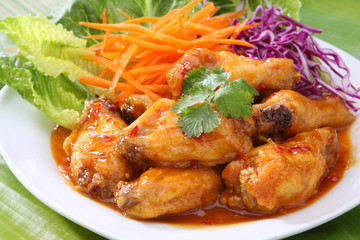 Fried Chicken Wings with sweet and sour sauce