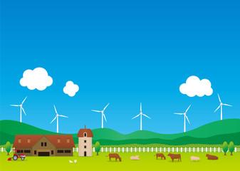 農場と風力発電