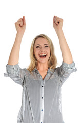 Joyful woman with arms raised