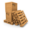 Wooden boxes with print on pallet, pile of pallets