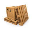 Wooden box and two pallet
