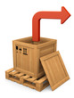 Open wooden box and red bent arrow. Extract concept.