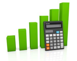 Calculator and green graph diagram