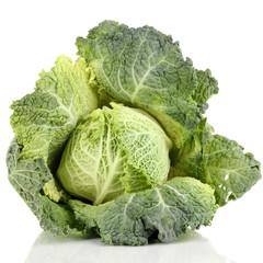 Fresh savoy cabbage isolated on white
