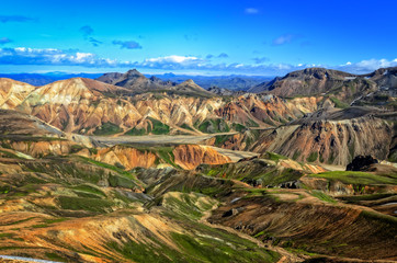 Landmannalaugar colorful rhyolite mountains landscape, Iceland