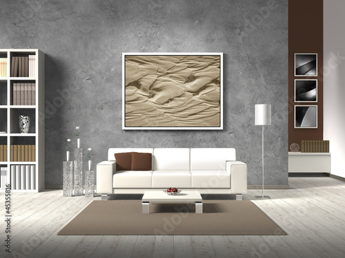 modern living room in natural colors