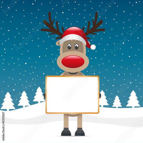 rudolph holding signboad
