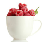 ripe raspberries with mint in cup isolated on white