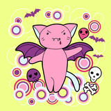 Vector kawaii illustration Halloween cat and creatures. poster