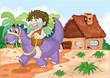a boy riding on dinosaur