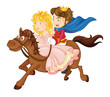 king and queen riding on a horse