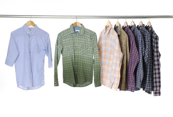 Men's different sleeved plaid cotton on a hanger