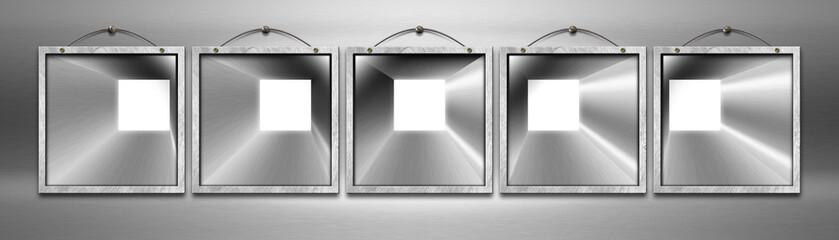 Five Empty Metal Frames