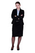 businesswoman in a suit posing