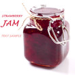 Strawberry jam in a glass jar with the sample text
