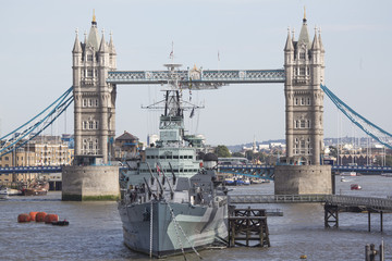 Tower Bridge with HMS Belfast