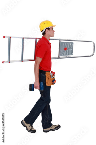 carpenter carrying ladder isolated on white