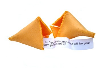 Fortune Cookie Isolated Over White