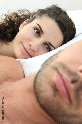 Woman looking at boyfriend