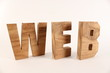 WEB text animation with wooden letters version 2