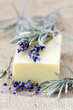 bar of natural soap and lavender