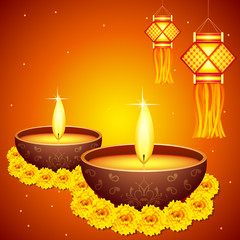 vector illustration of colorful diwali hanging lantern with diya